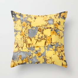 geometric painting texture abstract in yellow and brown Throw Pillow