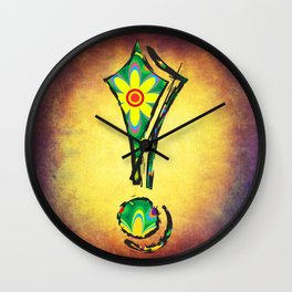 Exclamation Mark with psychedelic flowers Wall Clock