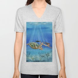 Turtle and girl Unisex V-Neck