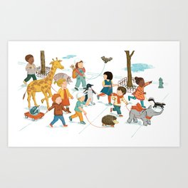 March with friends Art Print