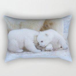 Polar bear family on white snow background. Rectangular Pillow