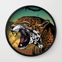 jaguar Wall Clocks featuring Jaguar by Adamzworld
