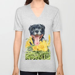 Joy | Pit Bull Dog and Daylily Watercolor Painting Unisex V-Neck