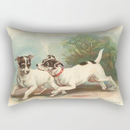 Classic, preppy, vintage jack russell fox terrier dog puppy antique illustration art print Rectangular Pillow