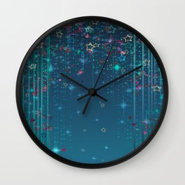 Magic fairy abstract shiny background with stars Wall Clock