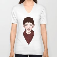 merlin V-neck T-shirts featuring Merlin by Emma Ehrling