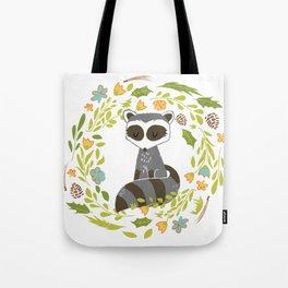 woodland raccoon folk flower wreath illustration Tote Bag