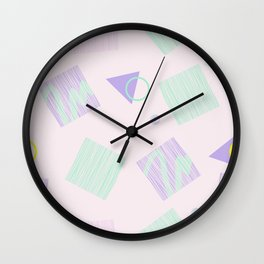 Geometric objects in pastels Wall Clock