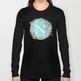 Personalized Monogram Initial Letter N Blue Watercolor Flower Wreath Artwork Long Sleeve T-shirt