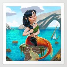 A Villainous Mermaid Art Print