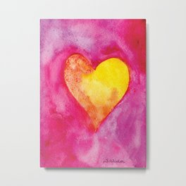 Golden Heart Watercolor Valentine Metal Print