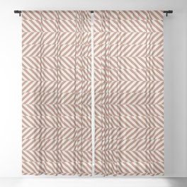 Cavern Clay SW 7701 and Creamy Off White SW7012 Hypnotic Stripe Pattern Sheer Curtain