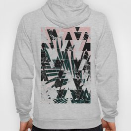 Modern geometric triangles black white abstract marble pattern palm tree leaf pink ombre Hoody