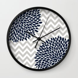 Chevron Floral Modern Navy and Grey Wall Clock