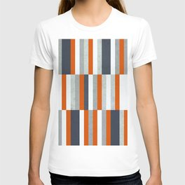 Orange, Navy Blue, Gray / Grey Stripes, Abstract Nautical Maritime Design by T-shirt