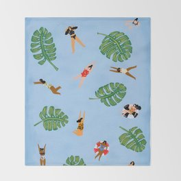 Floating in the sea Throw Blanket