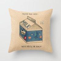 milk Throw Pillows featuring Milk by Felicia Chiao