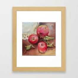 RED APPLES on the table Classic Still life Painting Framed Art Print