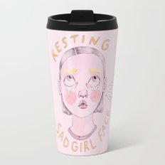 Resting Sad Girl Face Travel Mug