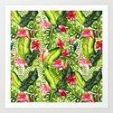 Aloha- Tropical Flamingo Bird and Hibiscus Palm Leaves Garden by originalaufnahme