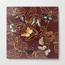Golden Butterflies Metal Print