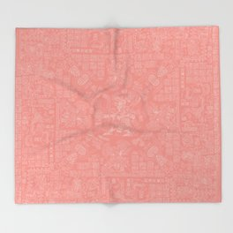 Mayan Spring CORAL / Ancient Mayan hieroglyphics mandala pattern Throw Blanket