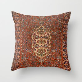 Persia Isfahan 19th Century Authentic Colorful Red Blue Tan Vintage Patterns Throw Pillow