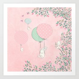 Cute flying Bunny with Balloon and Flower Rabbit Animal on pink floral background Art Print