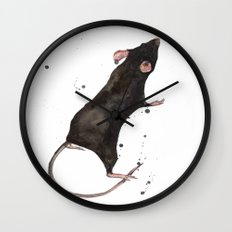 Rat, rodent painting, black rat, ratty, watercolor rat, rat pillow cover Wall Clock