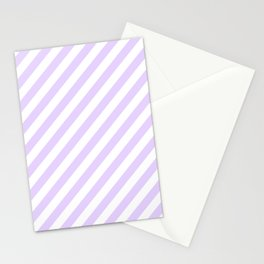 Chalky Pale Lilac Pastel and White Candy Cane Stripes Stationery Cards
