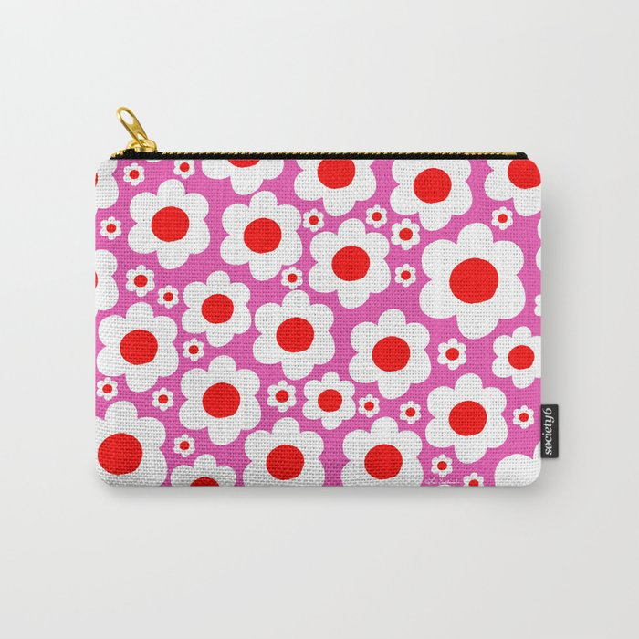 Pink Red White Pop Flowers Carry-All Pouch