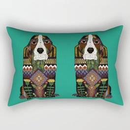 Basset Hound jade Rectangular Pillow