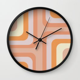 Retro Lines Blush Pink and Orange Abstract Wall Clock
