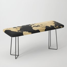Sleek black and gold world map Bench