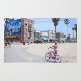Riding bike in Venice Beach Rug