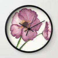 burgundy Wall Clocks featuring Burgundy Poppies by trabie