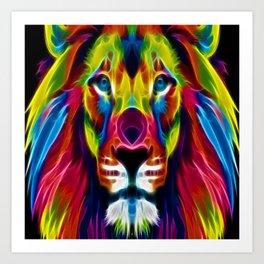 Colourful Lion Art Print