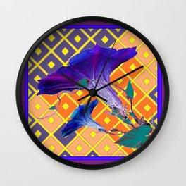 Gold & Purple Garden Floral Art Wall Clock
