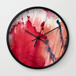 Blushing [3]: a vibrant, minimal abstract in pink, red, rose gold, and blue details Wall Clock