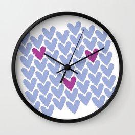 Purple Hearts Grid Wall Clock