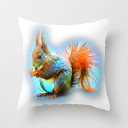 Squirrel in modern style Throw Pillow