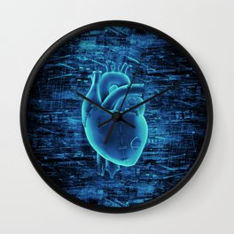Gamer Heart BLUE TECH / 3D render of mechanical heart Wall Clock