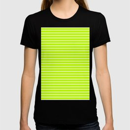 Horizontal Lines (White/Lime) T-shirt