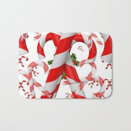 FESTIVE ART RED-WHITE CHRISTMAS CANDY CANES HOLLY BERRIES Bath Mat