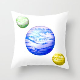Illustration of watercolor round planet Throw Pillow