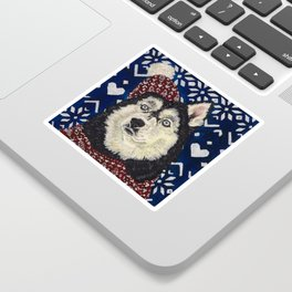 Husky in a Hat and Scarf Sticker