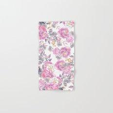 Elegant pink gray watercolor botanical roses flowers Hand & Bath Towel
