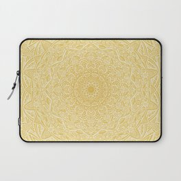 Most Detailed Mandala! Yellow Golden Color Intricate Detail Ethnic Mandalas Zentangle Maze Pattern Laptop Sleeve