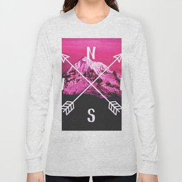 Pink Mountain Compass Long Sleeve T-shirt