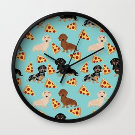 dachshund pizza multi coat doxie dog breed cute pattern gifts Wall Clock